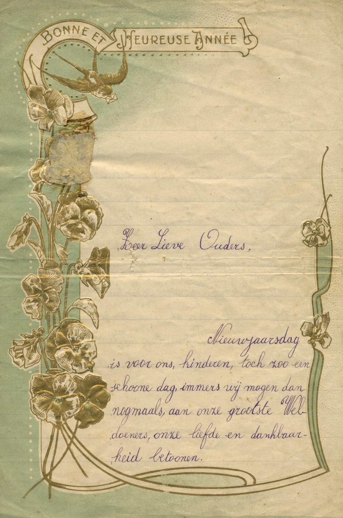 Oude nieuwjaarsbrief